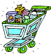 A full grocery cart (cartoon)