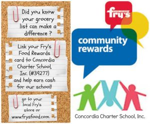 Link your Frys Rewards Card to Concordia Inc (#34277) and help earn cash for our school!